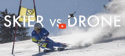 Geweldig duel tussen skiër en drone